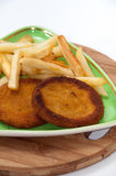 Fish burgers served with french fries on a plate Royalty Free Stock Photography