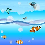 Fish and butterflies. Butterflies are flying over the ocean waves, fish swim in water.Illustration format EPS-10 Royalty Free Stock Image