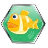 Fish on button Stock Photo