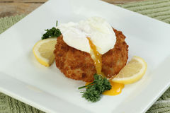 Fish cake with egg. Cod fish cake topped with a poached egg royalty free stock photo
