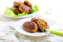 Fish cakes fried in bran crumbs Stock Photo