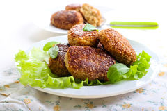 Fish cakes. Fried in bran crumbs on plate Royalty Free Stock Images