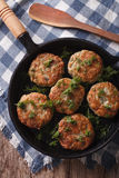 Fish cakes with herbs in a pan. vertical top view Stock Images