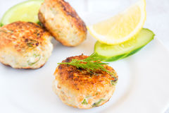Fish cakes. Homemade fish cakes with dill and lemon on white plate Royalty Free Stock Photography