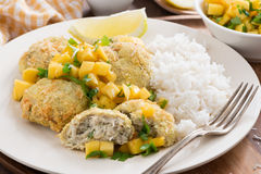 Fish cakes with mango salsa and rice, close-up Royalty Free Stock Images