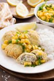 Fish cakes with mango salsa and rice, vertical Stock Images