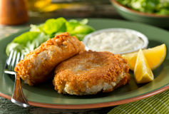 Fish Cakes. A plate of delicious homemade fishcakes with lemons, green salad and tartar sauce Royalty Free Stock Photo