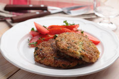Fish cakes with salad Stock Images