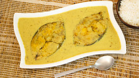 Fish Caldine or Yellow fish curry from Goa, India. Royalty Free Stock Images
