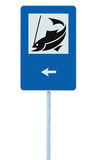 Fish camp road sign, isolated roadisde signpost pole post, fishing area left hand white arrow place pointer blue traffic signage Royalty Free Stock Photo