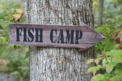 Fish camp sign Stock Photos