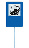 Fish camp sign, isolated roadisde signpost pole post, fishing area place pointer traffic signage in blue white, blank copy space Royalty Free Stock Photography