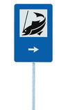 Fish camp sign, isolated roadisde signpost pole post, fishing area right hand arrow place pointer traffic signage blue white Stock Image