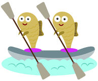 Fish and canoe. A funny illustration of two fish canoeing Stock Images