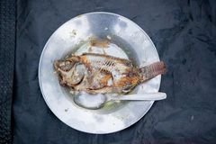 Fish Carcass. On a metal plate with a spoon Stock Photography