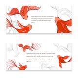 Fish card. Koi modern card. Hand drawn vector illustration of chinese fish Royalty Free Stock Images