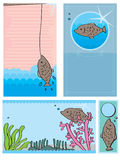 Fish card set Royalty Free Stock Images