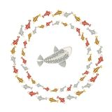 Fish carp Koi with fins colorful bright red silver gold pattern wreaths circles fish Sea double isolated on white background illus. Fish carp Koi with fins Stock Images