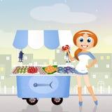 Fish cart. Cute illustration of fish cart Royalty Free Stock Photo