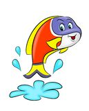 Fish cartoon. Cartoon of cute fish jumping from water Royalty Free Stock Photos