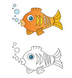 Fish cartoon. Colored fish cartoon isolated on white. The blank cartoon sketch is useful for coloring book pages for children Stock Images