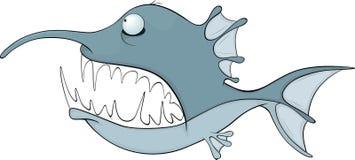 Fish. Cartoon. Blue predatory fish with the big teeth Stock Photography