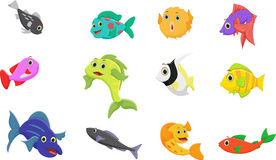 Fish cartoon collection set Stock Photos