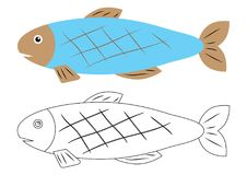 Fish cartoon. Coloring book. Activity for children. Fish cartoon. Coloring book. Activity for children Stock Photos