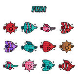 Fish cartoon concept icons. Vector illustration, EPS 10 Royalty Free Stock Photo