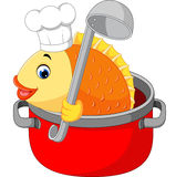 Fish cartoon. Cartoon funny fish being cooked in a pan Royalty Free Stock Image