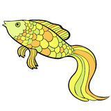 Fish cartoon a gold cute  Vector illustration. Fish cartoon a gold cute . Vector illustration Stock Images