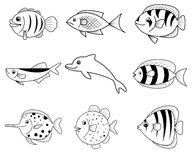 Fish cartoon icons Royalty Free Stock Photography