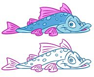 Fish  cartoon Illustrations. Isolated image animal character Stock Image