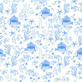Fish cartoon pattern in abstract style. Pattern with fish on the white background Royalty Free Stock Photos