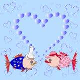Fish cartoon pattern. Fish  pattern.  illustration/ postcard. valentine day Royalty Free Stock Photo