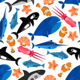Fish cartoon seamless pattern wallpaper. Fish cartoon seamless background. Children funny wallpaper with vector pattern of cute swimming fishes, clownfish, shark Royalty Free Stock Images