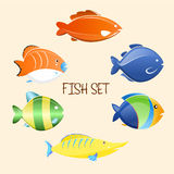 Fish cartoon set. Vector Illustration icons Stock Image