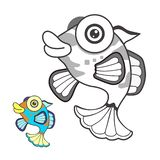 Fish cartoon sketch stock images