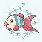 Fish in cartoon style. On a background of water and algae Royalty Free Stock Photos