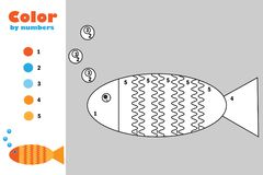 Fish in cartoon style, color by number, education paper game for the development of children, coloring page, kids preschool royalty free illustration