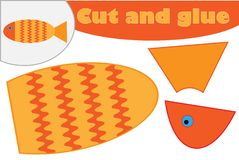 Fish in cartoon style, education game for the development of preschool children, use scissors and glue to create the applique, cut stock illustration