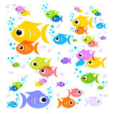 Fish Cartoon. Vector Colorful Fish. Flat Design Transparent Flock of Fish Isolated on White Background Stock Photo