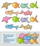 Fish cartoons. Six happy fish cartoons each one in two colored versions. Make seamless wallpapers as big as you like adding them together Royalty Free Stock Image
