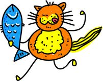 Fish Cat. Cute cartoon illustration of a hungry cat who has caught a fresh fish Royalty Free Stock Photos