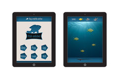 Fish Catcher Game App Template for mobile app and website design Royalty Free Stock Photos