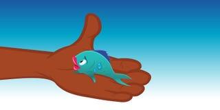 Fish caught. Cartoon vector illustration of a fish caught Royalty Free Stock Image