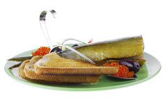 Fish and caviar with toast Stock Image
