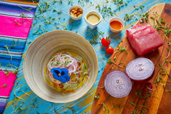 Fish ceviche preuvian recipe and pansy flower Royalty Free Stock Photography