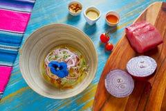 Fish ceviche preuvian recipe and pansy flower Stock Photo