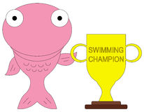 Fish champion. An illustration of a fish holding a trophy Royalty Free Stock Images